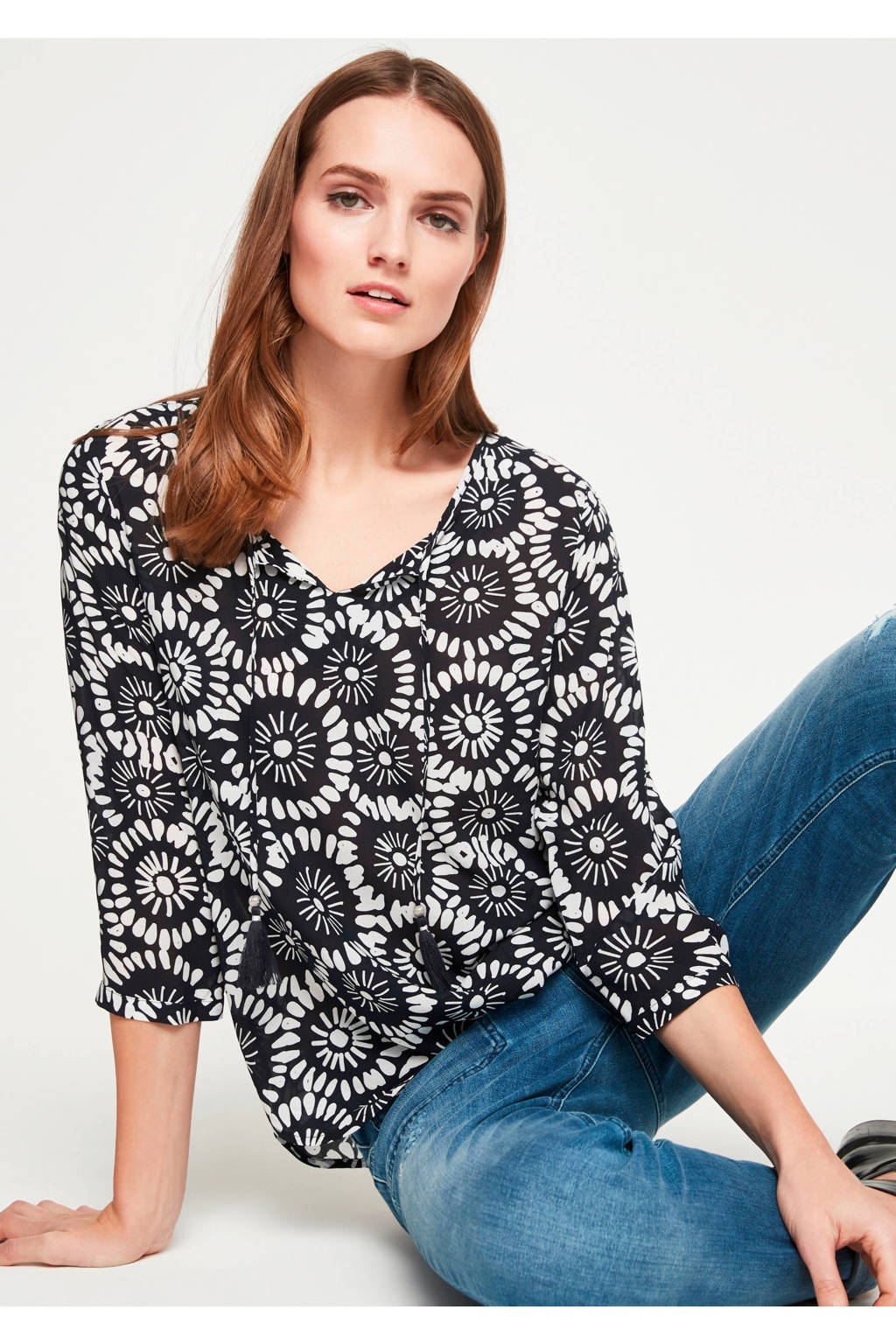 comma casual identity top met allover print marine, Marine