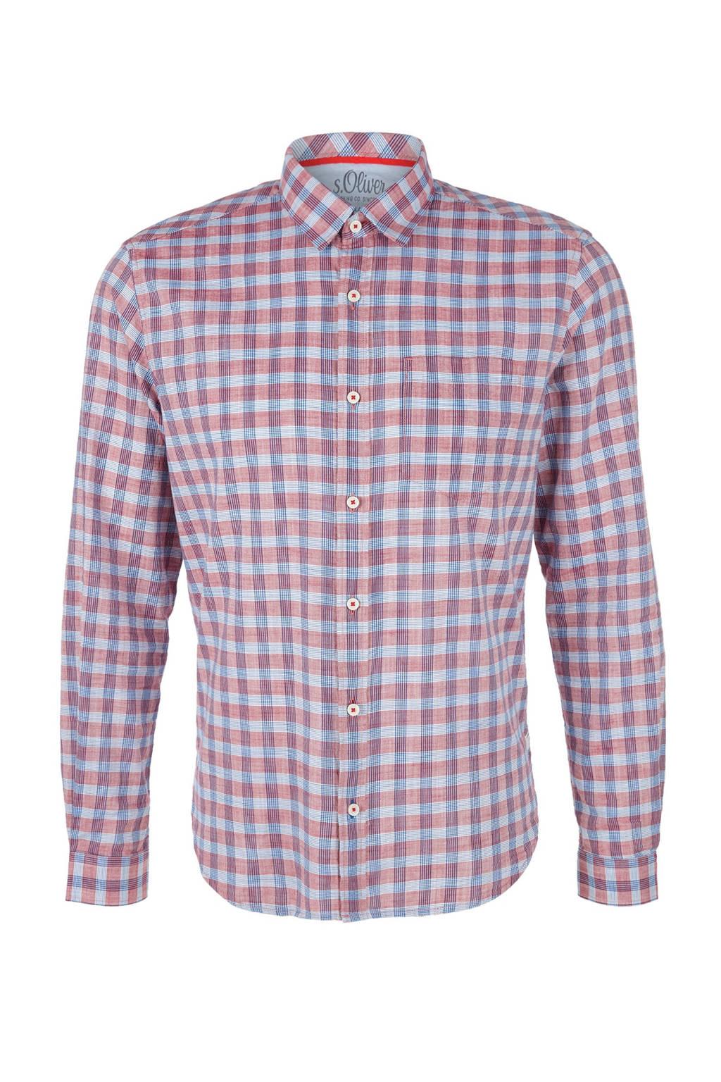 s.Oliver geruit regular fit overhemd rood, Rood/blauw