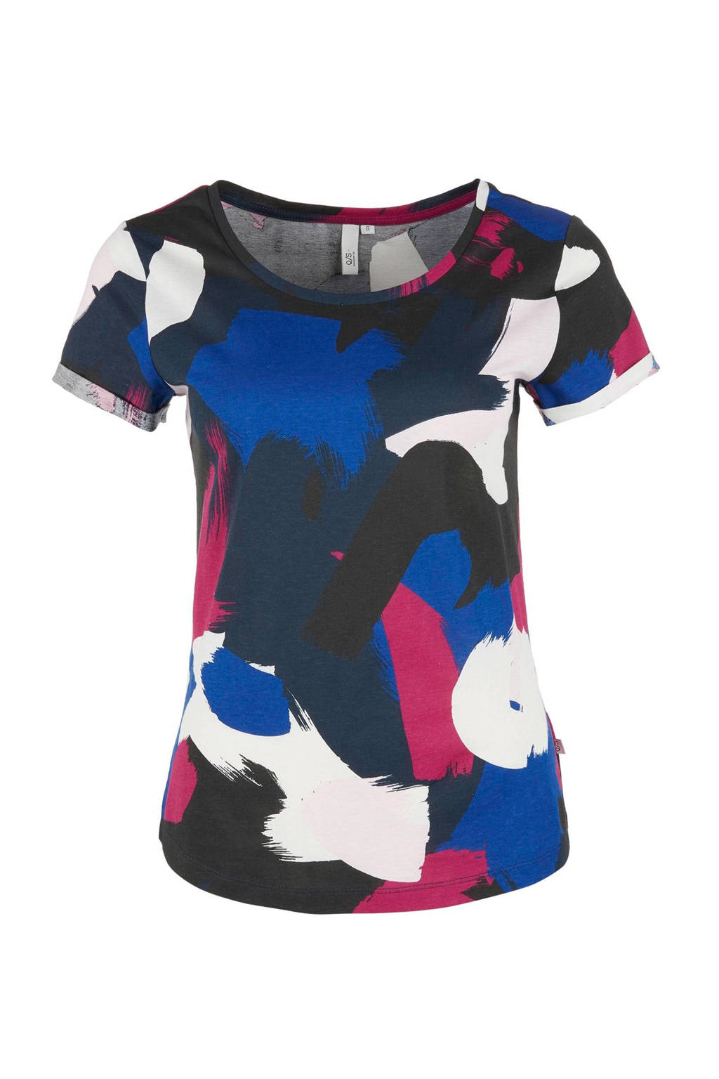 Q/S designed by t-shirt met all over print blauw, Blauw