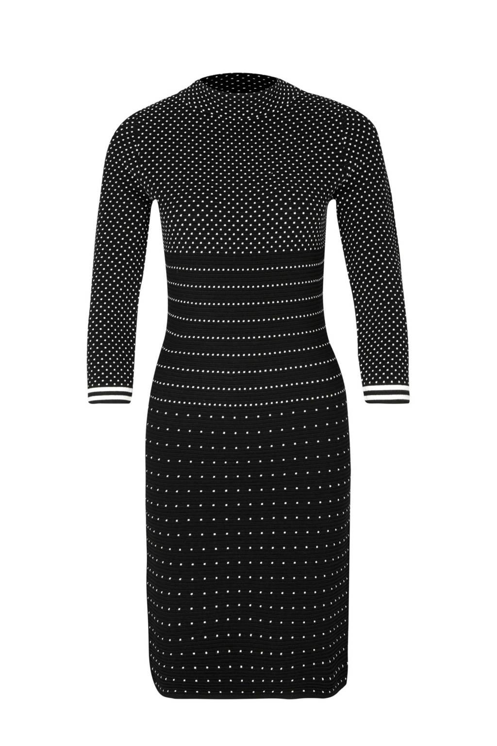 comma jurk met ingebreid dessin zwart, Zwart