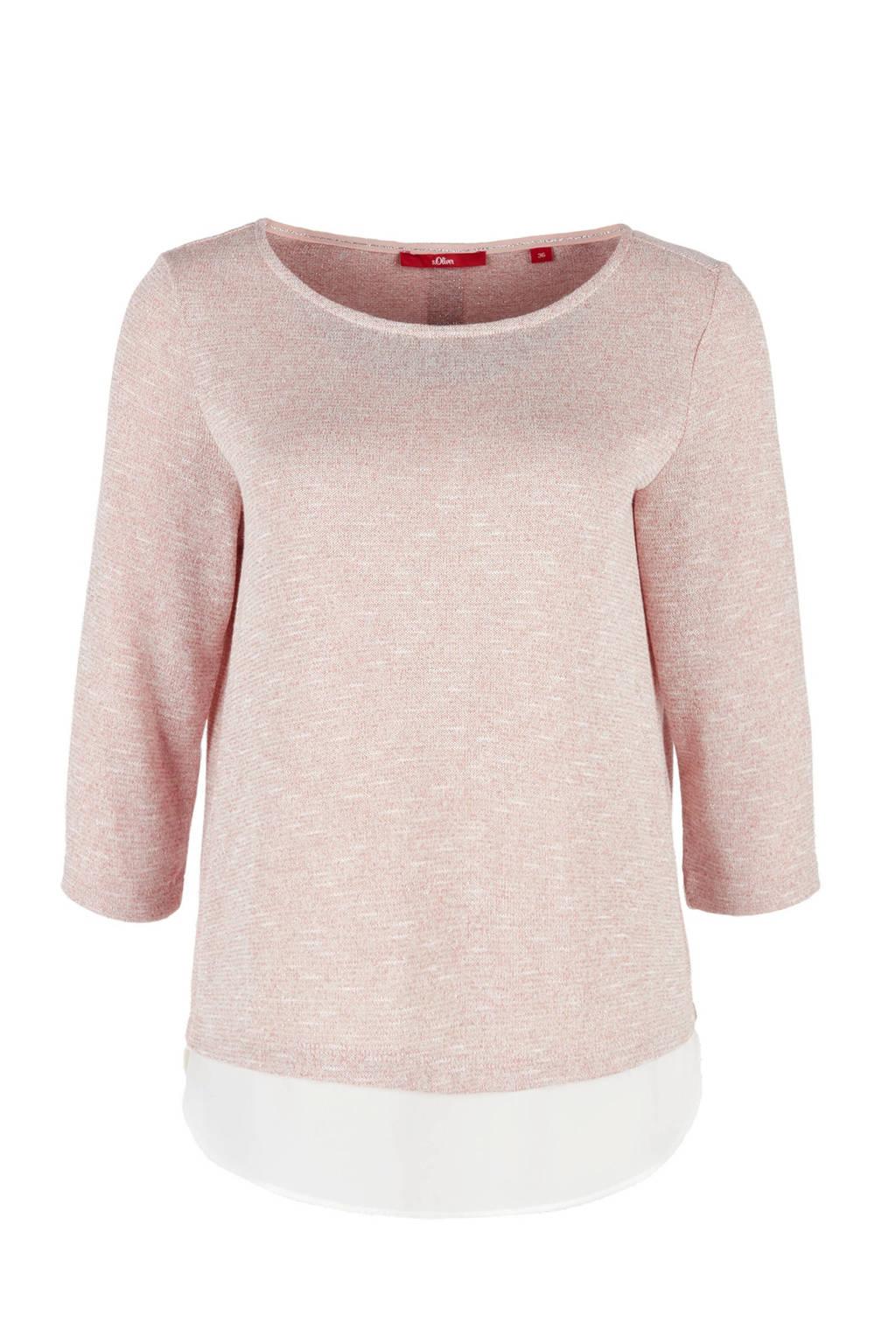 s.Oliver gemêleerde trui met blousezoom roze, Lichtroze melange/ Ecru