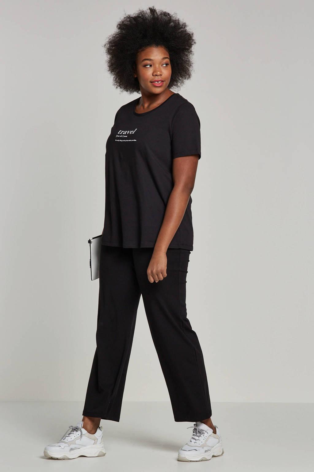 GREAT LOOKS broek met wijduitlopende pijpen, Zwart