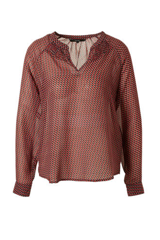 blouse met all over print rood