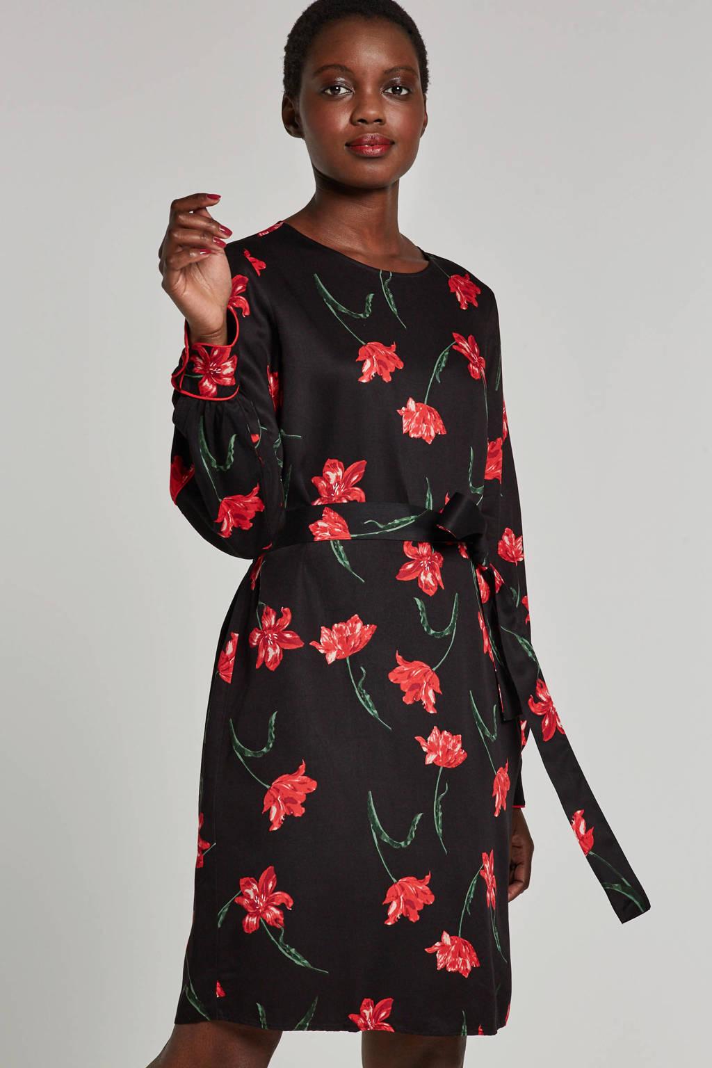 VERO MODA gebloemde jurk met bindkoord, Zwart/roze/groen