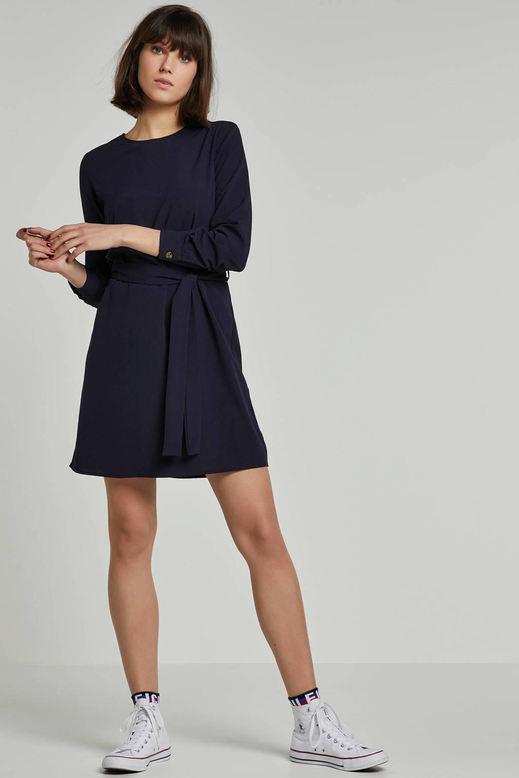 VERO MODA jurk met bindceintuur donkerblauw, Donkerblauw