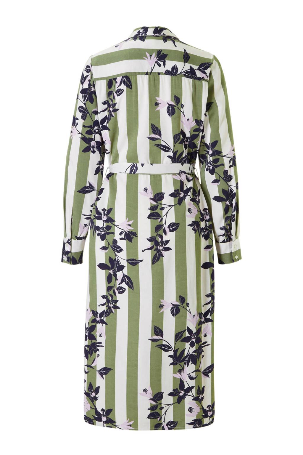 VERO MODA gestreepte blousejurk met bloemenprint, Groen/wit/paars/donkerblauw