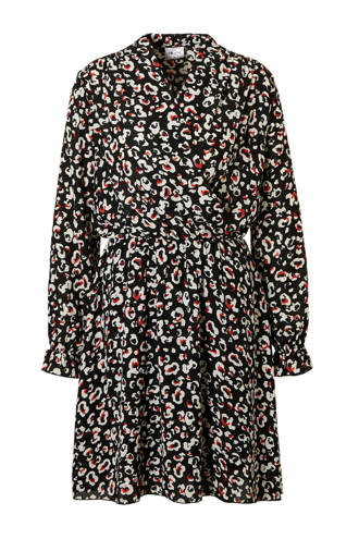 AWARE by VERO MODA jurk met panterprint en overslagkraag