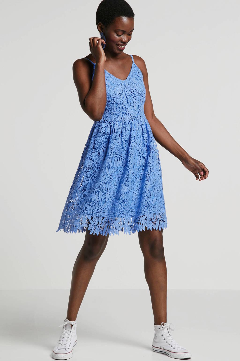 VERO MODA kanten jurk blauw, Blauw