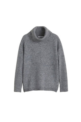 gemêleerde trui met col grijs