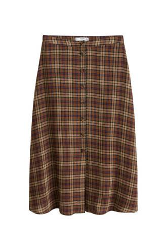 asymmetrische rok met wol bruin
