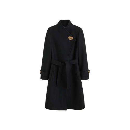 Mango coat met wol zwart kopen