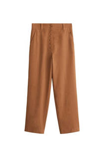 Mango gevoerde straight fit pantalon bruin (dames)