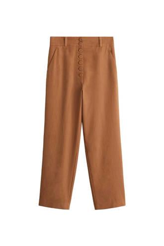 gevoerde straight fit pantalon bruin