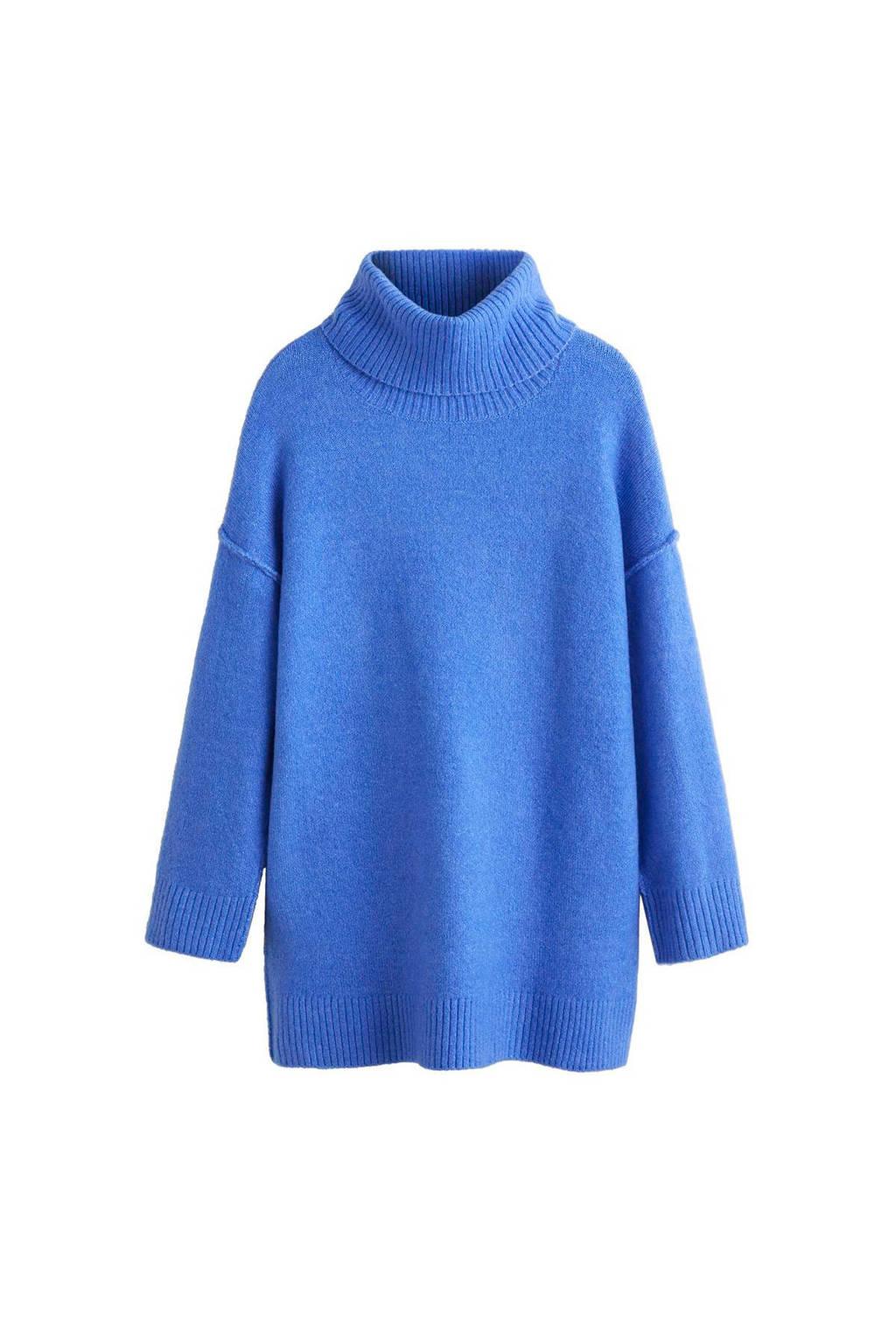 Mango gebreide trui met lage schoudernaden blauw, Blauw