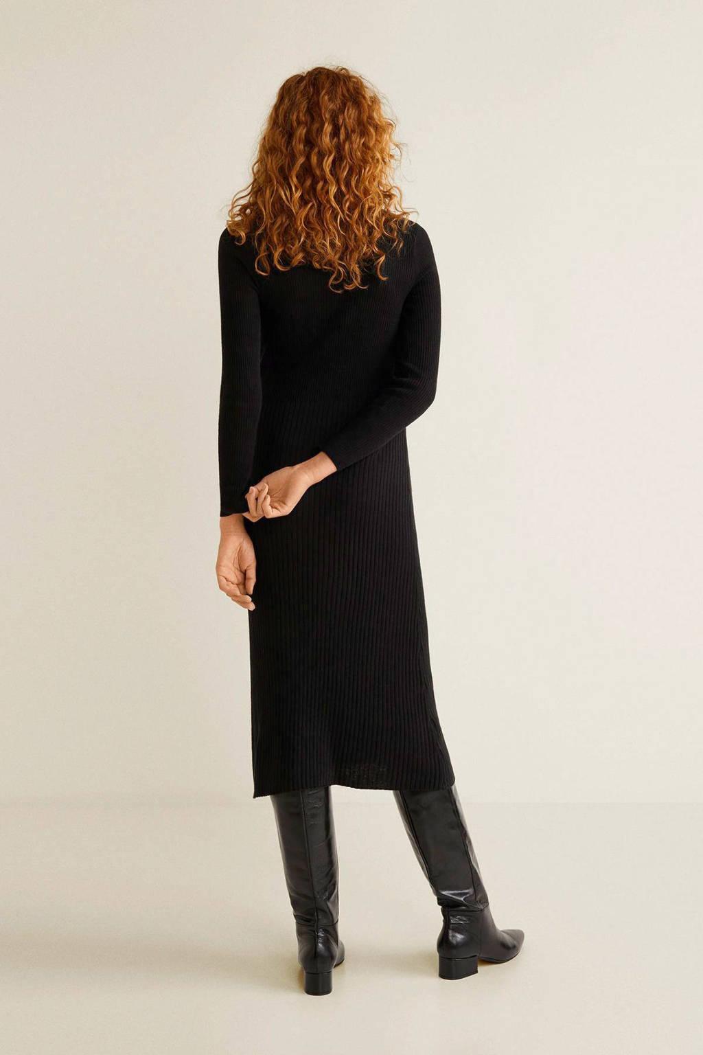Mango geribbelde jurk met col zwart, Zwart