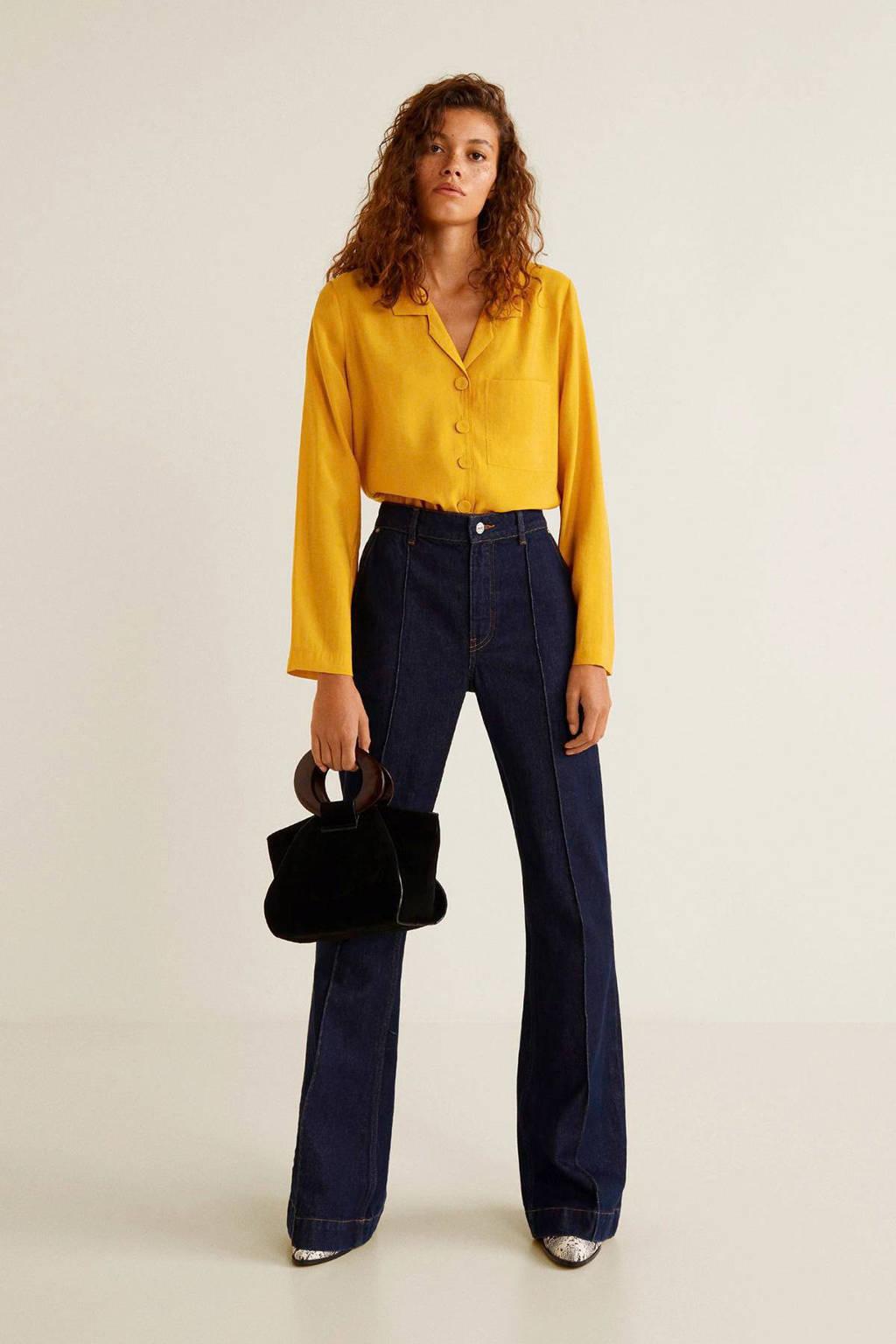 Mango soepelvallende blouse geel, Geel