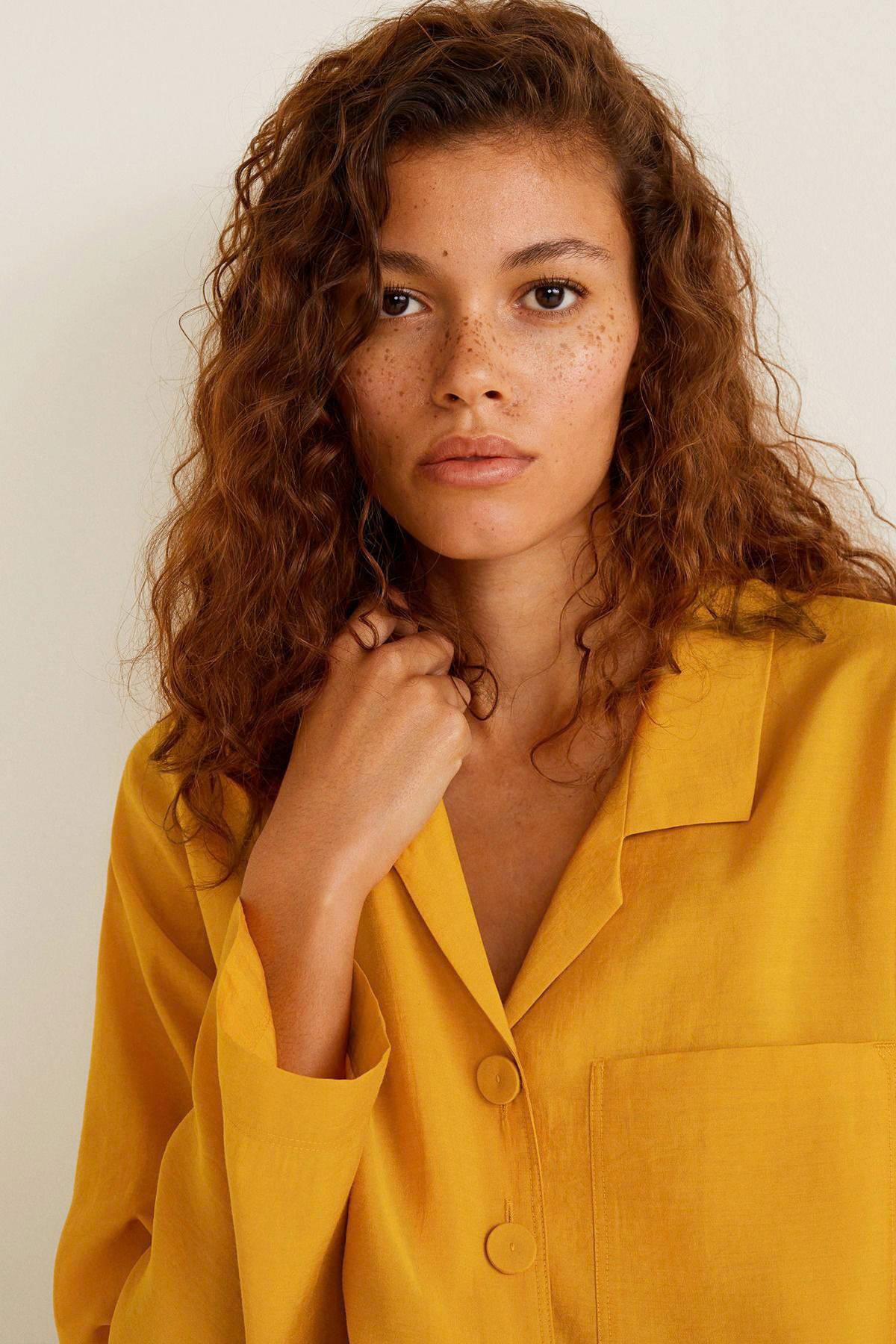 geel Mango Mango soepelvallende blouse soepelvallende blouse 1OOFXS