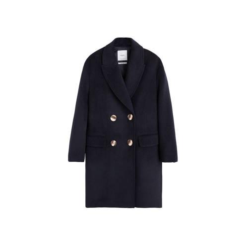 Mango coat met wol donkerblauw kopen