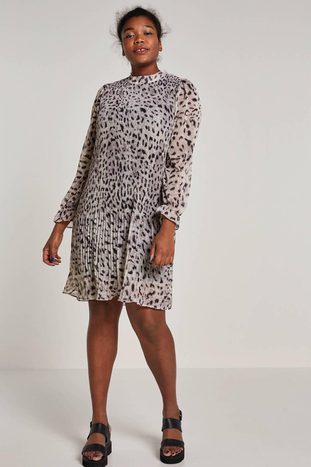 Zoey jurk met luipaardprint, Wit/zwart