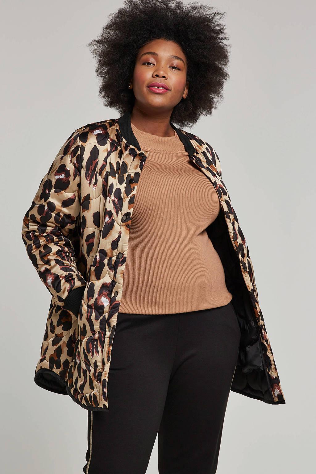 Zoey bomber jack met luipaardprint, Beige/zwart