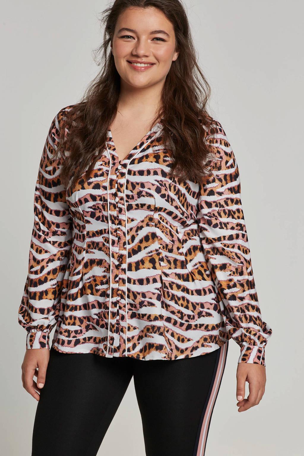 Lost Ink Plus blouse met tijgerprint, Wit/bruin/roze/zwart