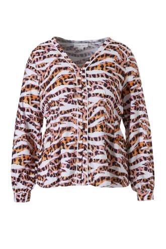 Plus blouse met tijgerprint