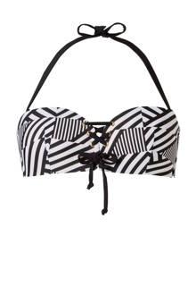 Mix & Match bandeau bikinitopje in all over print zwart