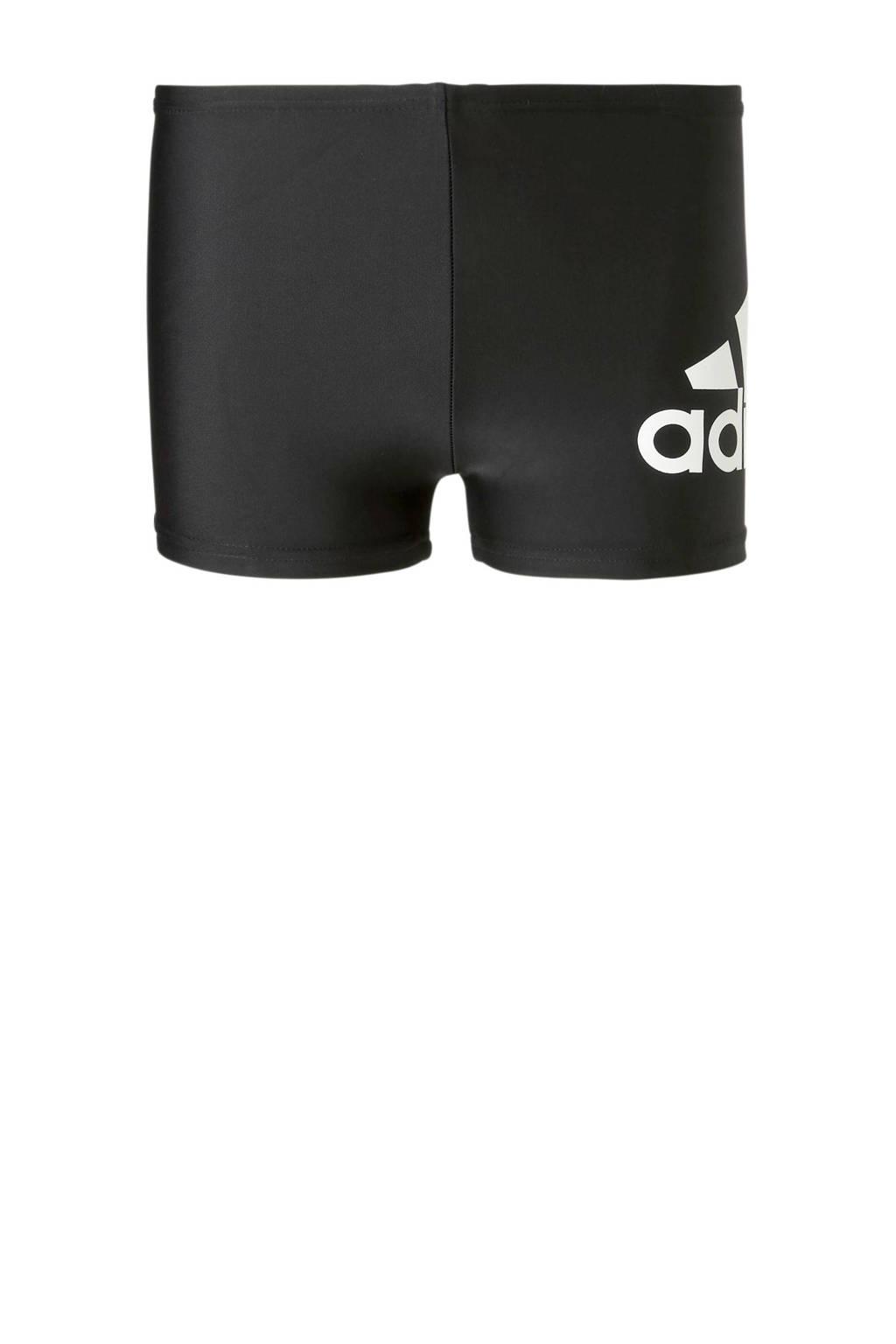 adidas Performance zwemboxer met merknaam zwart, Zwart/wit