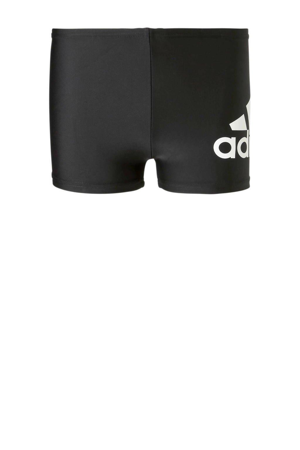 adidas zwemboxer met merknaam zwart, Zwart/wit