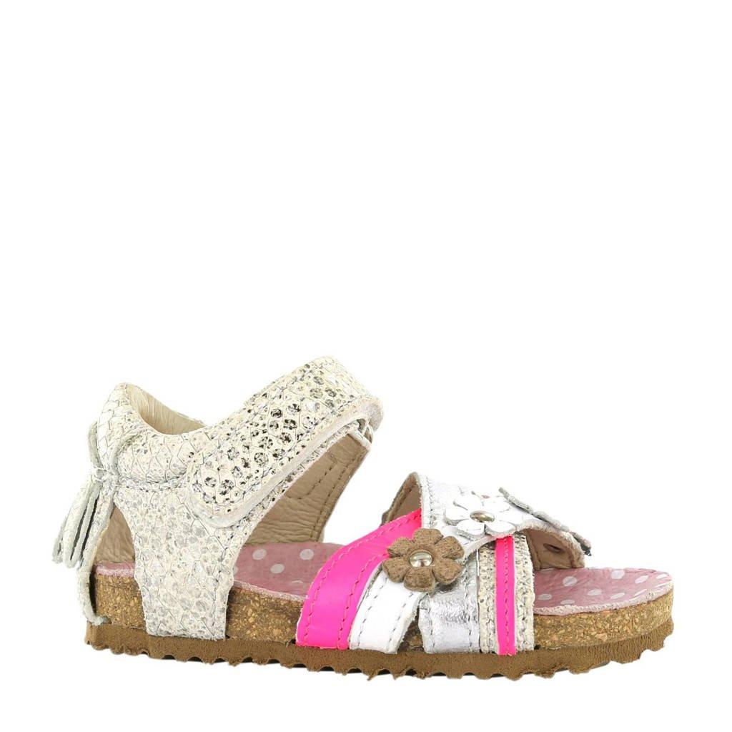 Shoesme leren sandalen, Zilver/roze