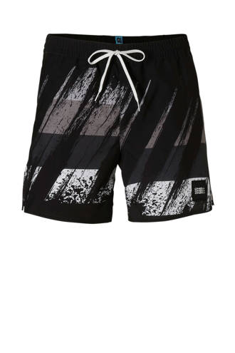 zwemshort in all over print zwart