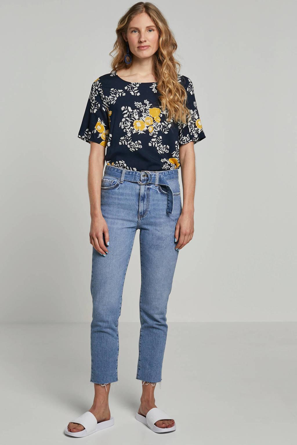 ICHI top met bloemenprint, Donkerblauw/geel/wit