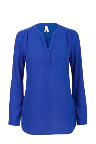 Regulier blouse met plooi details kobaltblauw