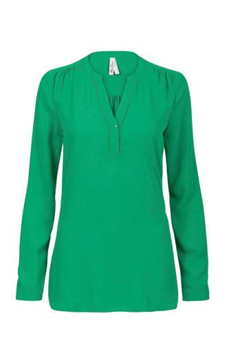 Regulier blouse met plooi details groen