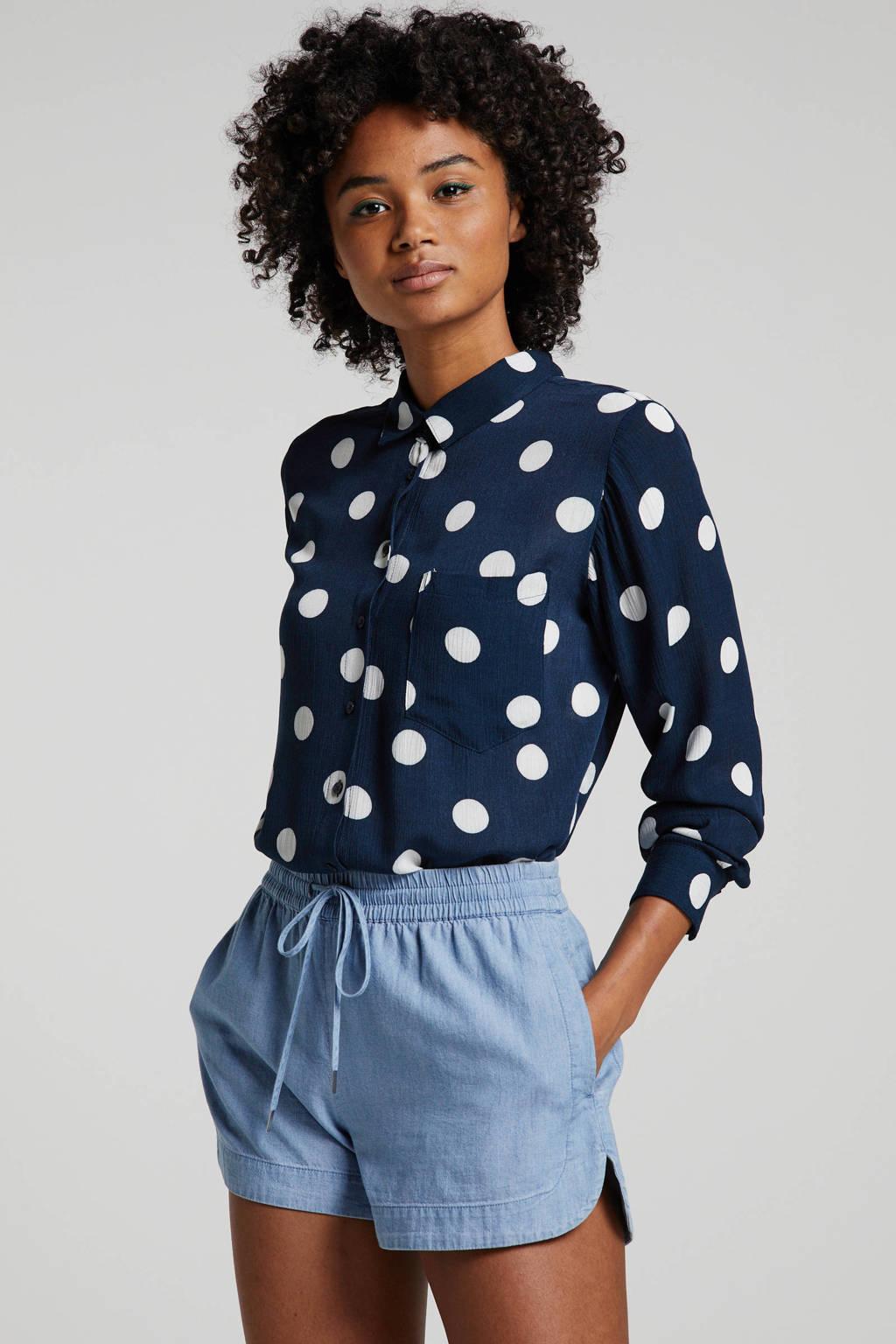 ICHI blouse met stippen donkerblauw/wit, Donkerblauw/wit