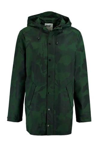 regenjas Jace met camouflageprint donkergroen