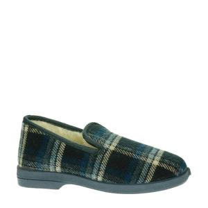geruite pantoffels grijs