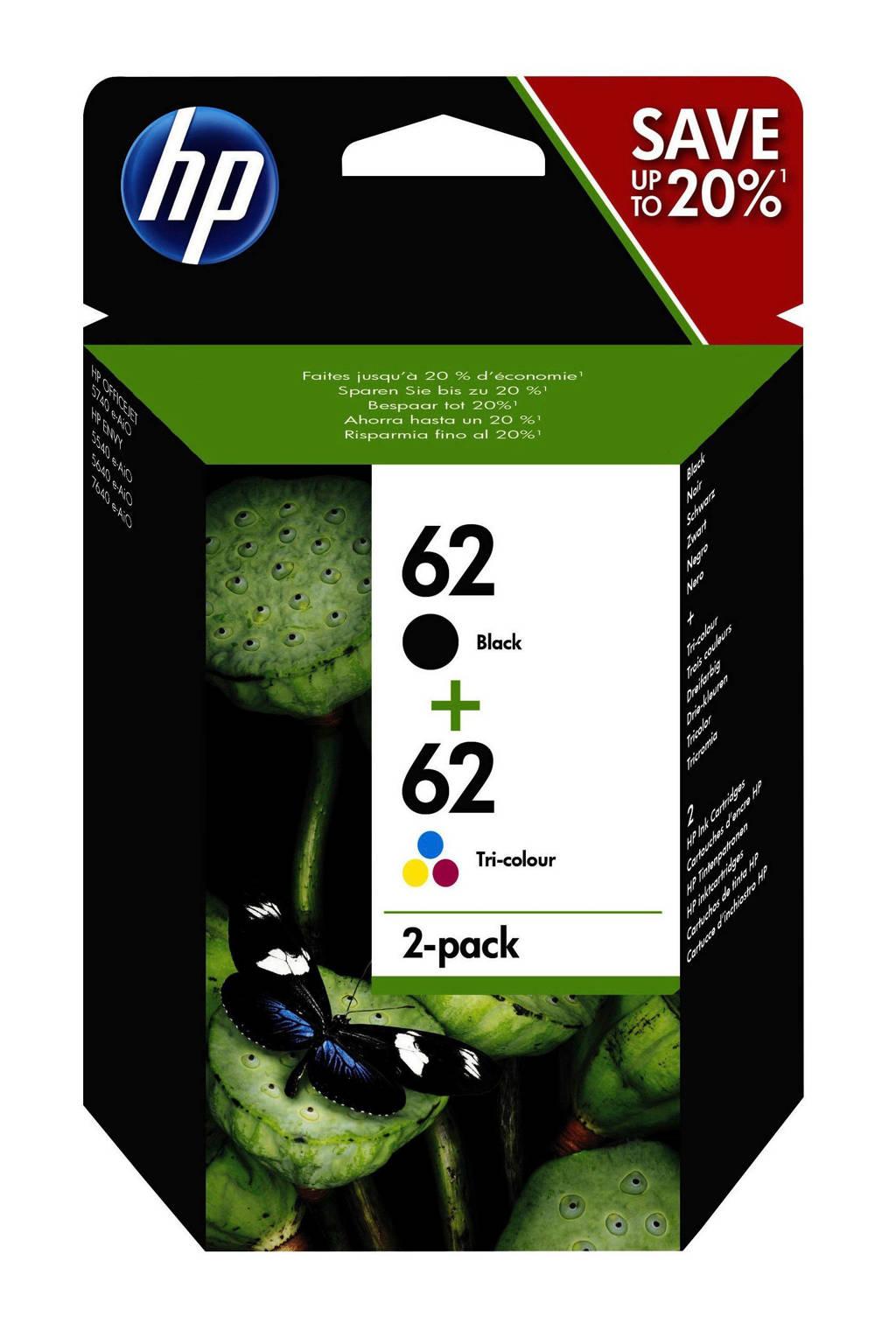 HP HP 62 INK 2-PACK 2-pack inktcartridge (zwart/kleur), Zwart, Geel, Cyaan en Magenta
