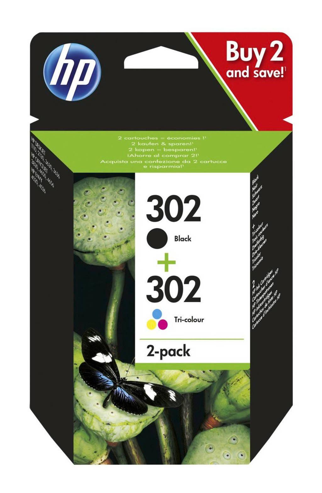 HP HP 302 INK 2-PAC inkt cartridge 302 2-pack (zwart + kleur), Zwart, Geel, Cyaan en Magenta