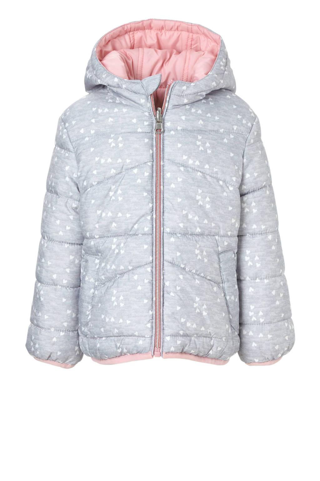 C&A Palomino omkeerbare winterjas met hartjes grijs, Grijs/lichtroze