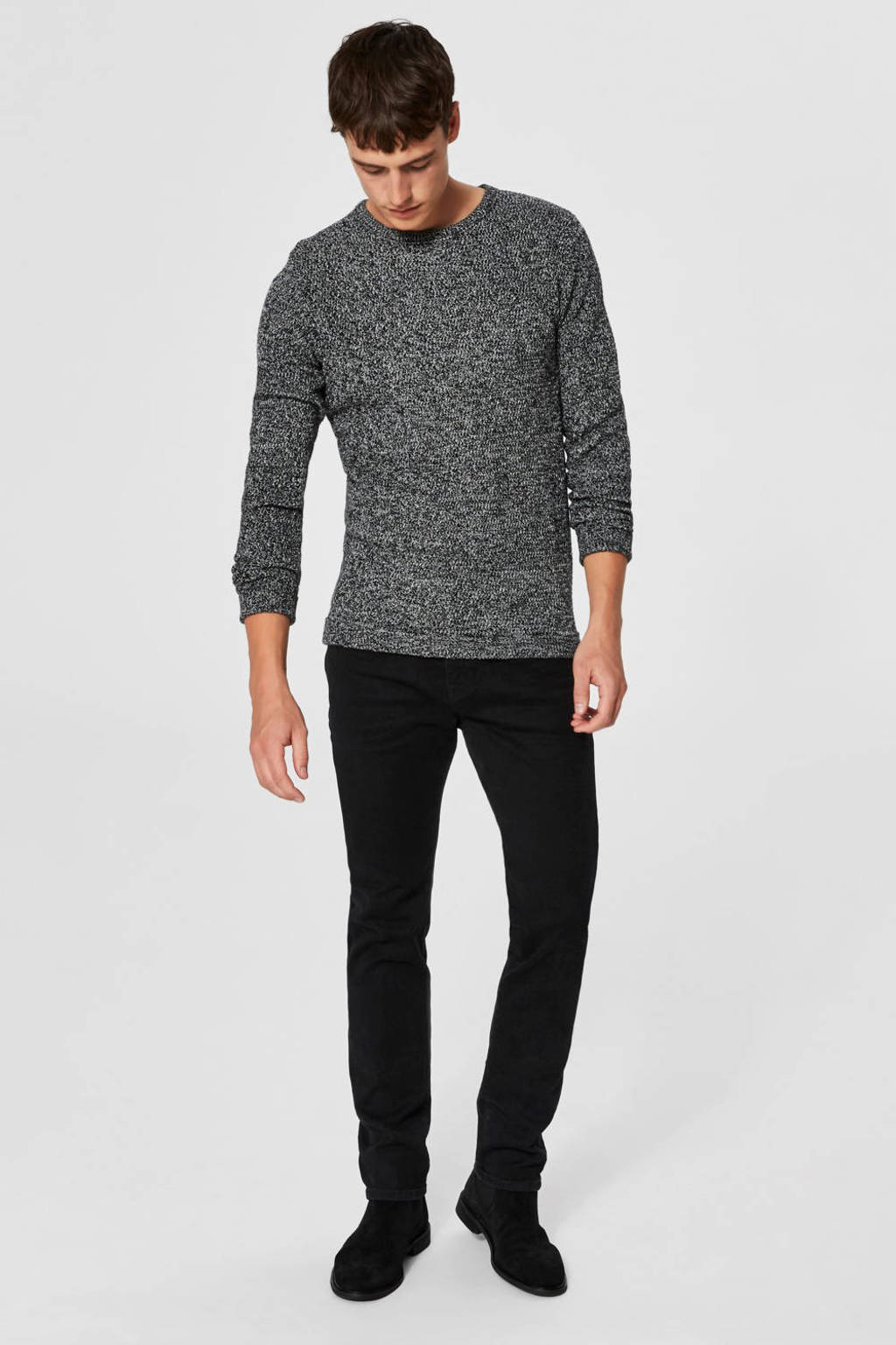 SELECTED HOMME melange trui, Zwart/wit