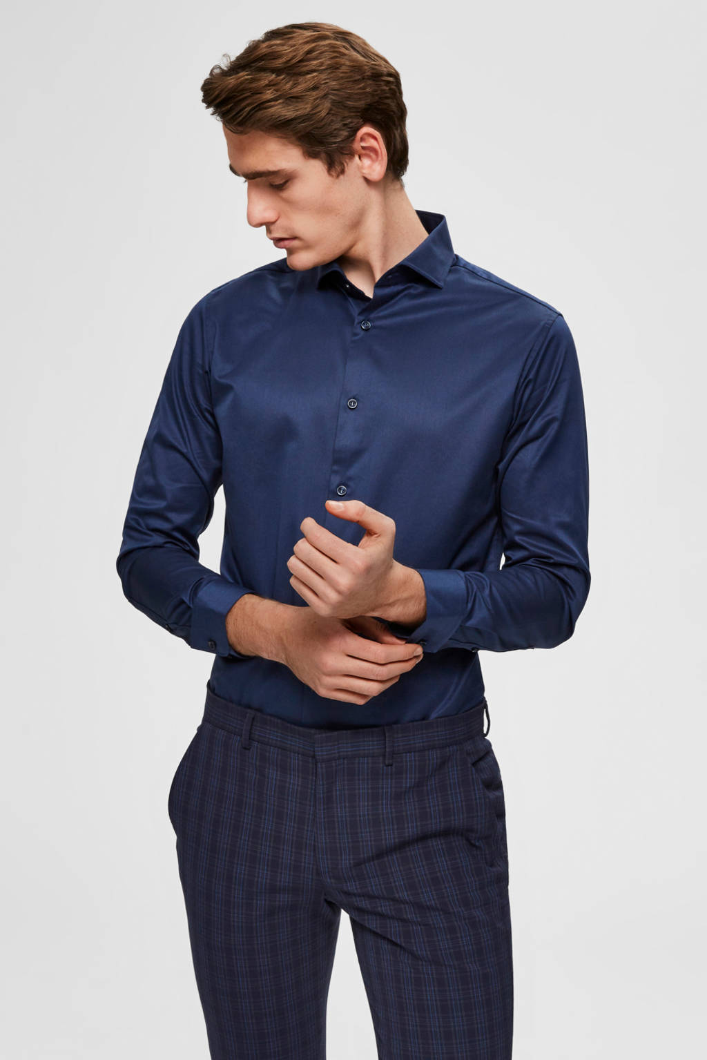 SELECTED HOMME slim fit overhemd, Donkerblauw