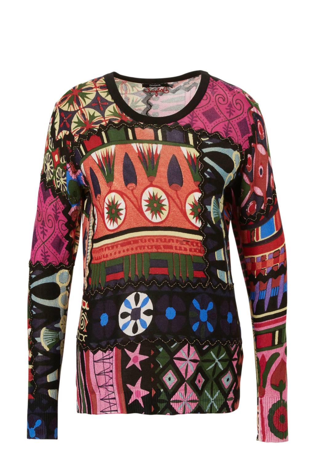 Desigual trui met all over print multi-kleur, Zwart/ Multi-kleur