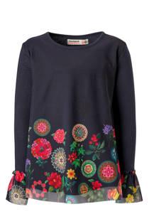 Desigual mesh top met bloemen blauw (meisjes)