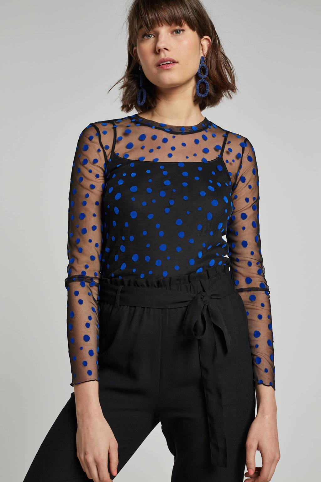 Pieces top van mesh, Zwart/blauw