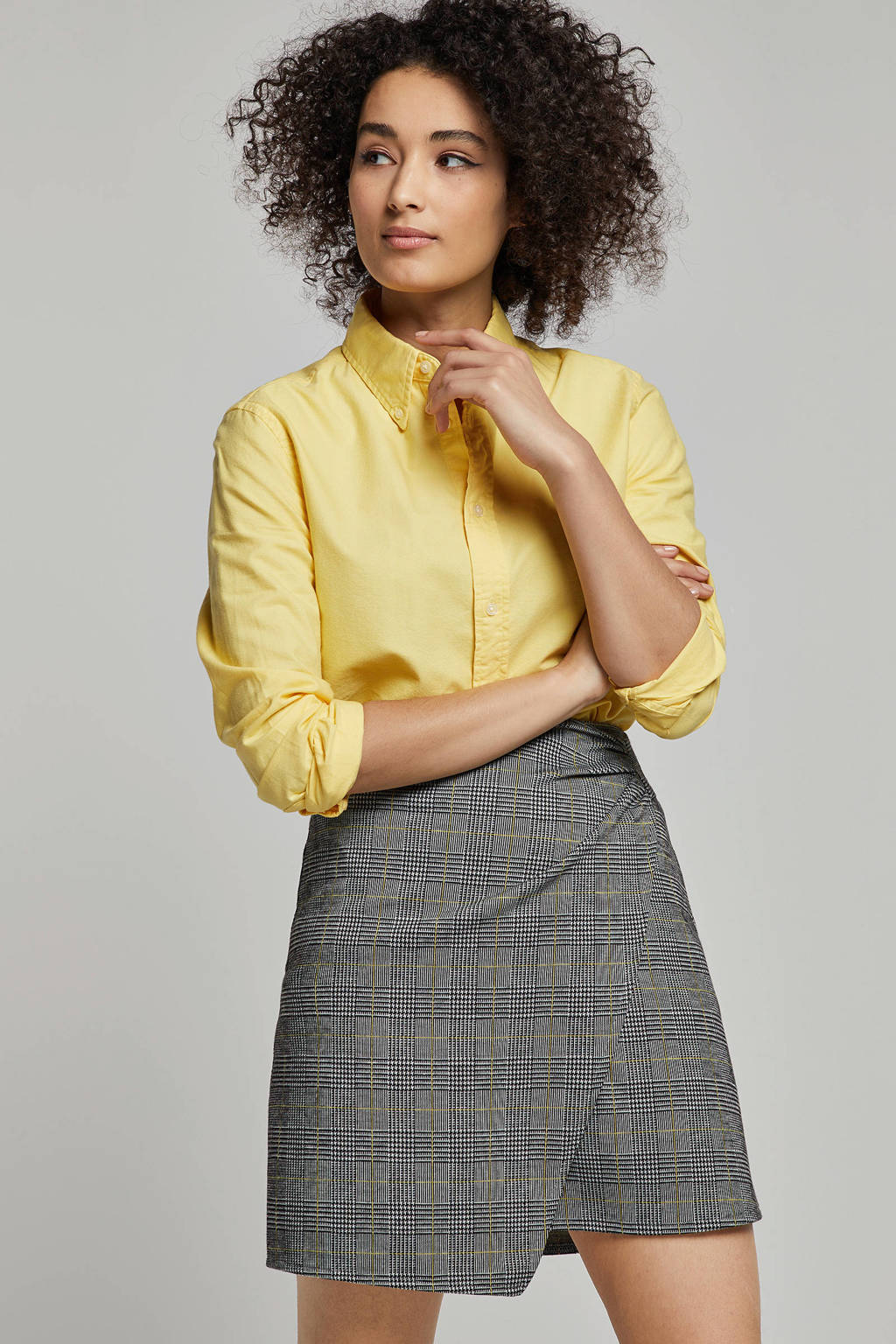 whkmp's own geruite A-lijn rok zwart/wit/geel, Zwart/wit/geel