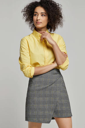 geruite A-lijn rok zwart/wit/geel