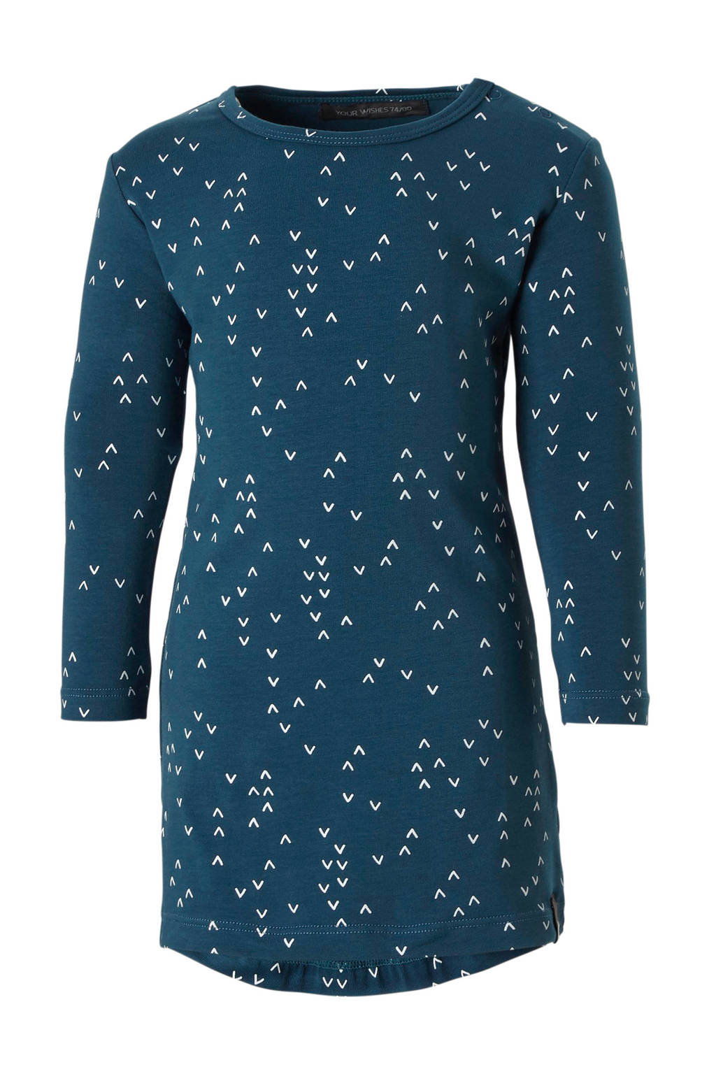 Your Wishes baby jurk met all over print, Blauw/wit