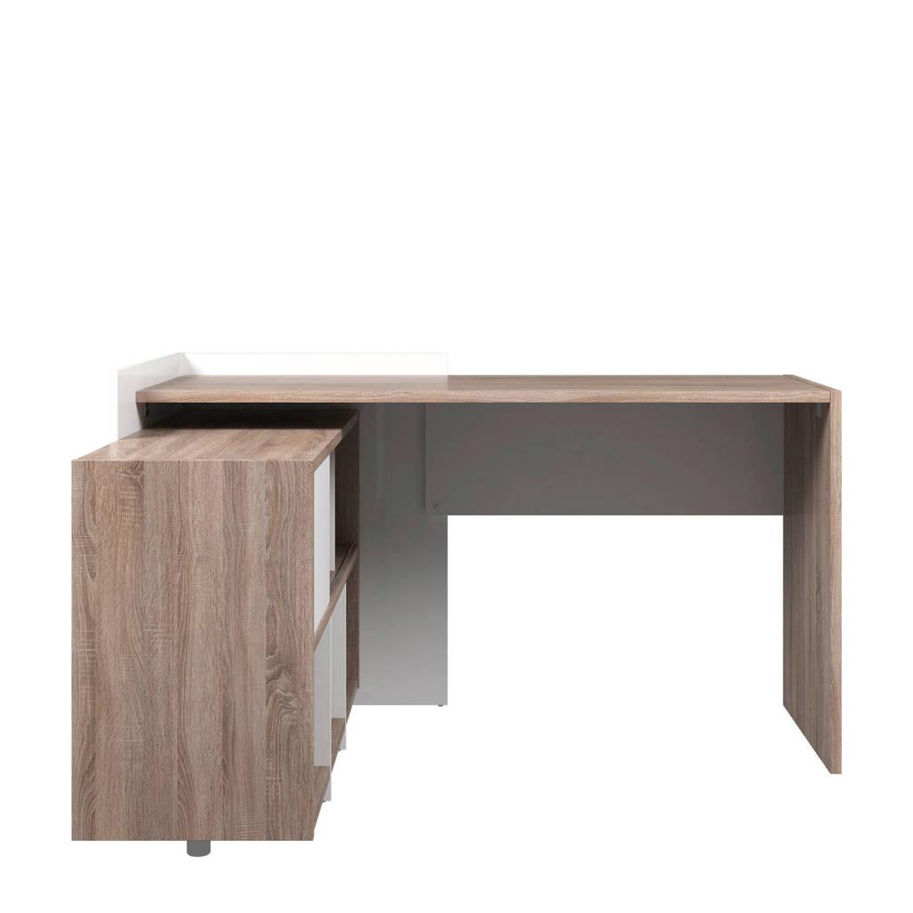 anytime Bureau met boekenkast, Bruin/wit