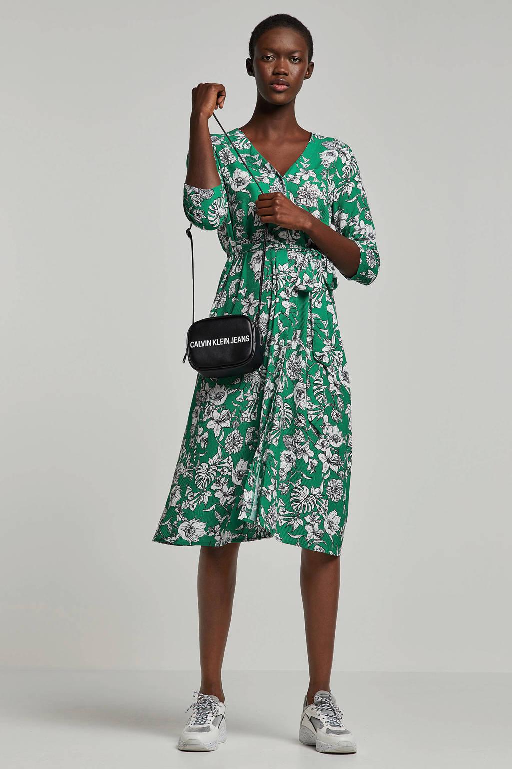 whkmp's own gebloemde A-lijn jurk groen/wit, Groen/wit